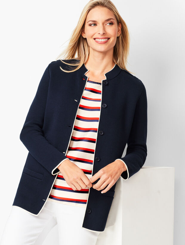 Military-Inspired Sweater Jacket