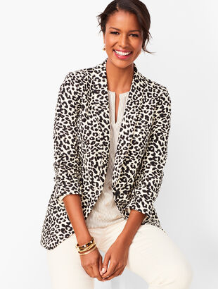 Long Linen-Blend Blazer - Leopard Print