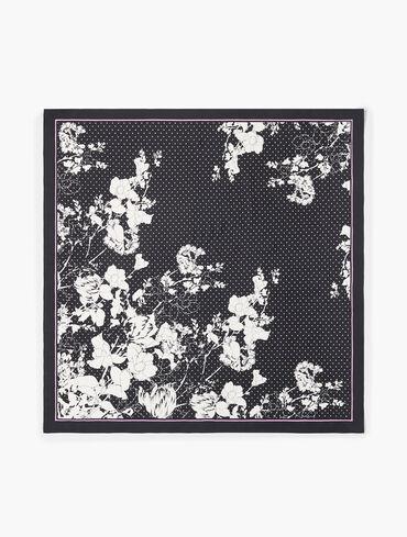 Pencil Floral Silk Square Scarf
