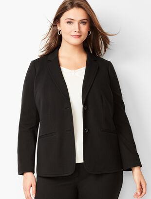 Plus Size Italian Luxe Knit Two-Button Blazer