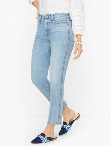 Modern Ankle Jeans with Ribbon Tape - Sea Glass Wash