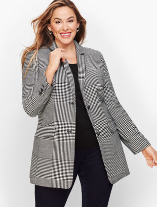 Classic Houndstooth Long Blazer