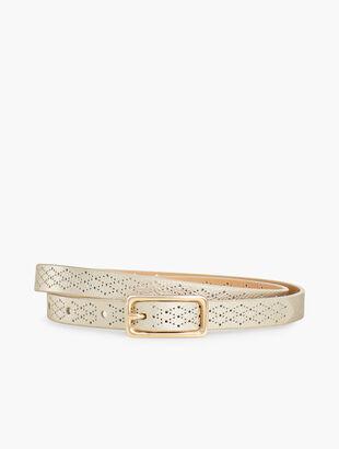 Skinny Perforated Leather Belt - Metallic