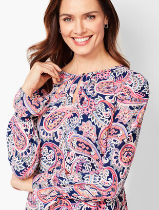 Paisley Gathered-Sleeve Blouse
