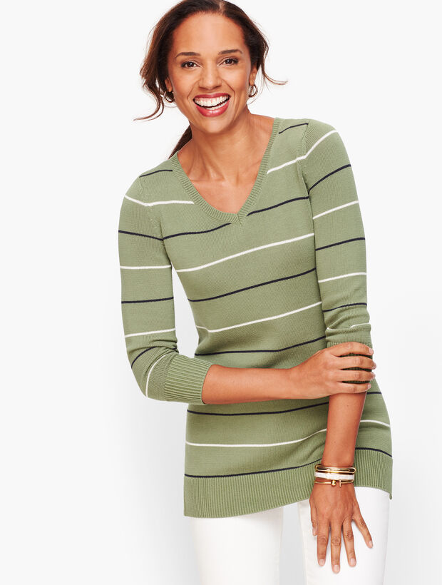 Double V Tie Back Sweater - Stripe