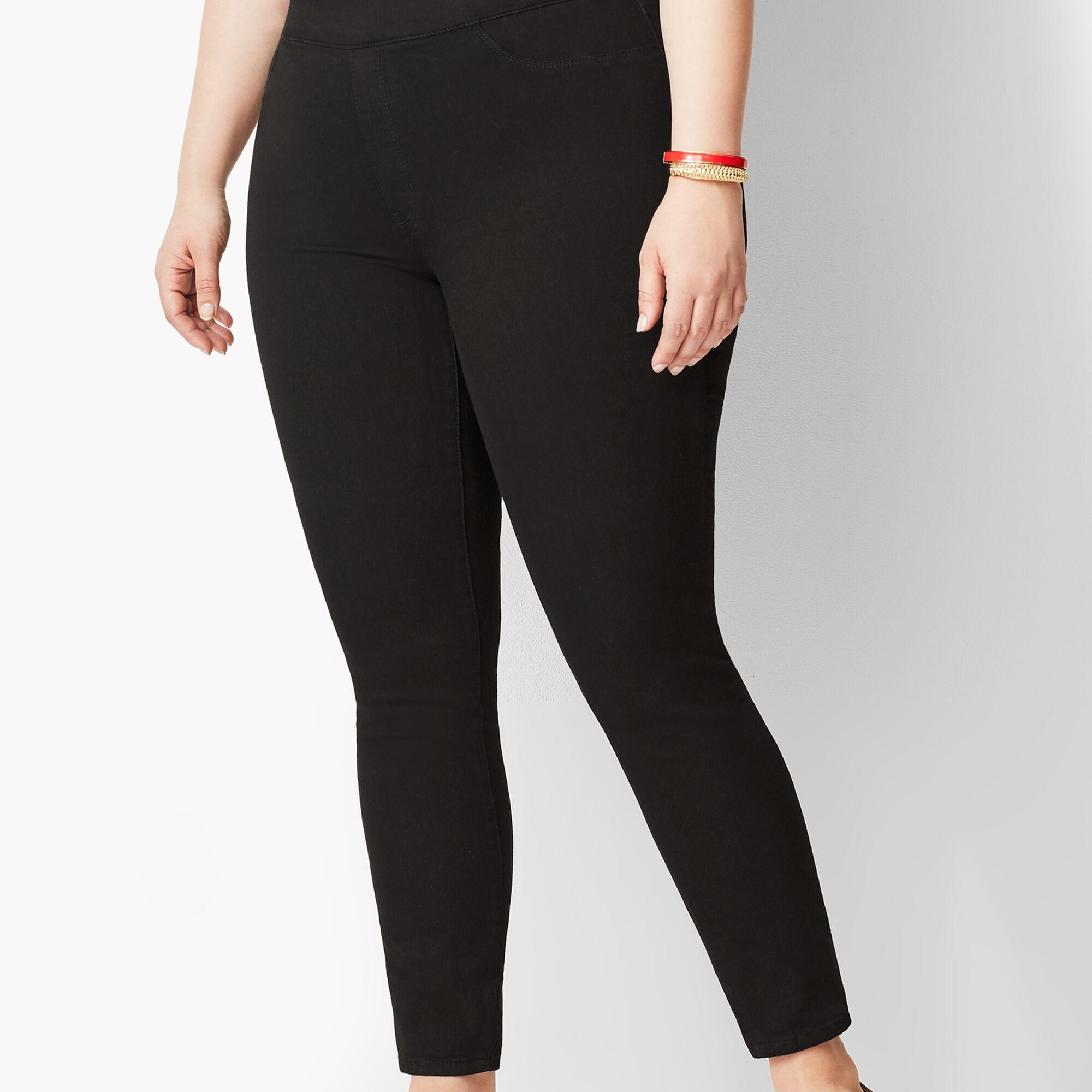 d08e4190ace0e Plus Size Pull-On Denim Jegging - Black | Talbots