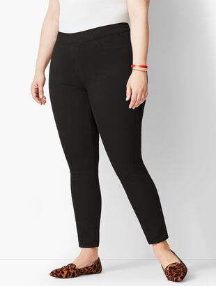 Plus Size Pull-On Denim Jegging - Black