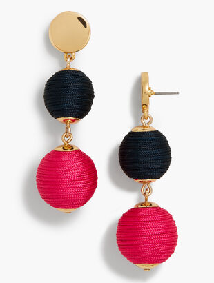 Thread-Wrapped Sphere Earrings