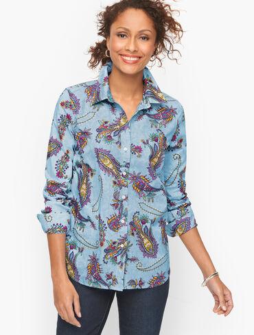 Cotton Button Front Shirt - Swirly Paisley