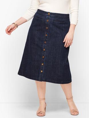 Denim Button Front A-Line Skirt
