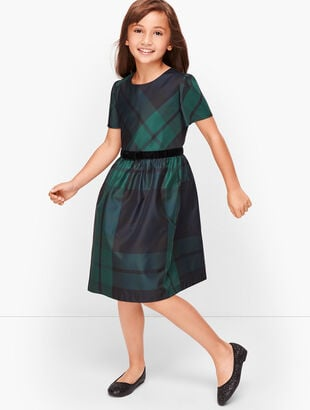 Girls Black Watch Fit & Flare Dress