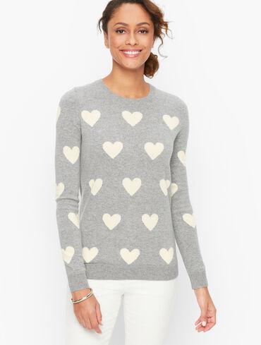 Cashmere Hearts Crewneck Sweater