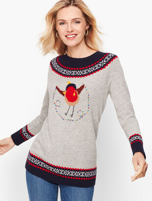 Holiday Bird Fair Isle Sweater