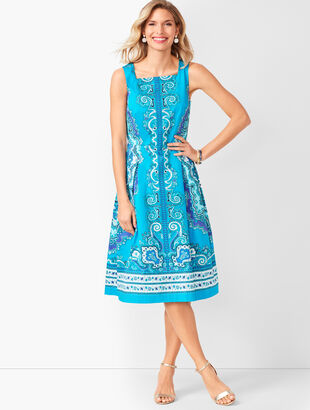 Medallion Sateen Fit & Flare Dress