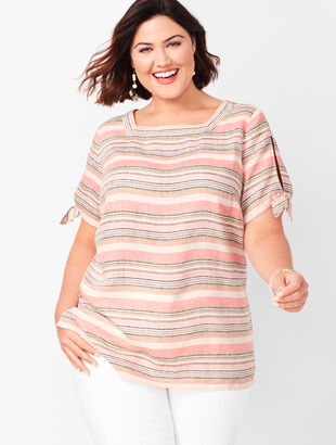 Square-Neck Linen Top - Stripe