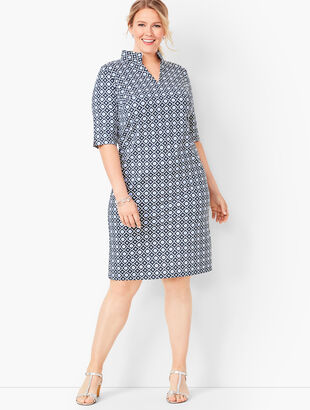Jersey Tile-Print Shift Dress