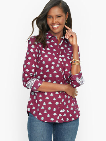 Cotton Button Front Shirt - Tea Time