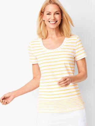 Gradient Stripe Slub-Knit Tee