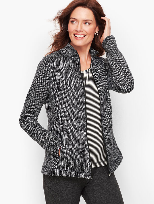 Textured Knit Herringbone Jacket