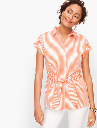 Tie Waist Button Front Stripe Shirt