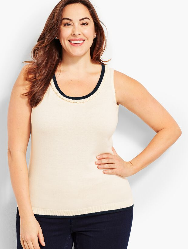 Plus Size Exclusive Tipped Pleated-Neck Sweater Shell