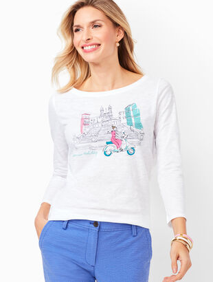 Cotton Bateau-Neck Tee - Vespa Girl