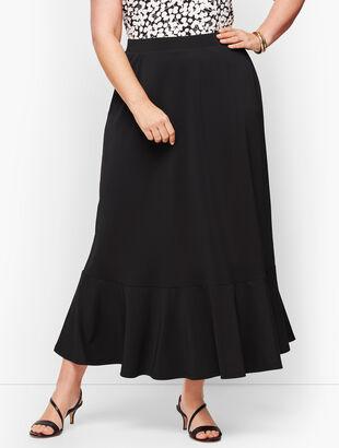 Knit Jersey Flounce Hem Maxi Skirt