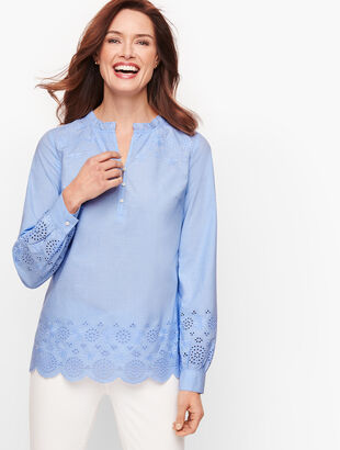 Embroidered Poplin Popover - End On End