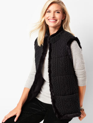 Faux-Fur-Trim Cable Sweater Vest