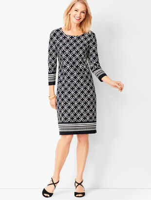 Geo-Print Contrast-Border Sheath Dress