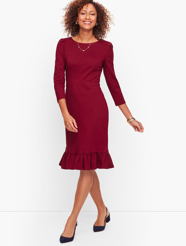 Flounce Hem Ponte Sheath Dress - Solid