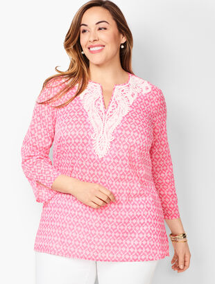 Lace-Bib Tunic Top - Diamond Geo