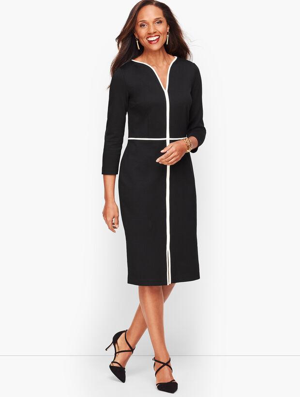 Tipped Ponte Sheath Dress - Black & Burgundy