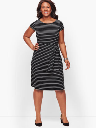 Faux-Wrap Jersey Shift Dress - Stripe
