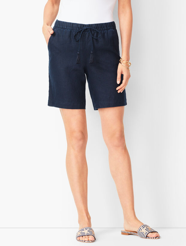 Drawstring Washed-Linen Shorts - Solid