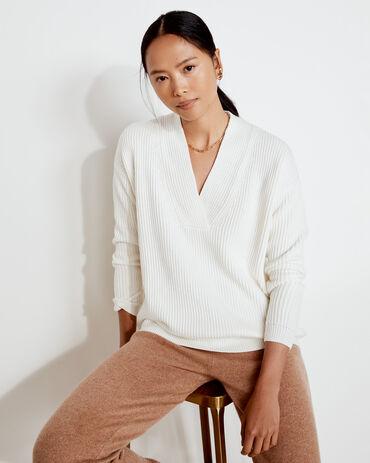 Overlapped V-Neck Cotton Sweater