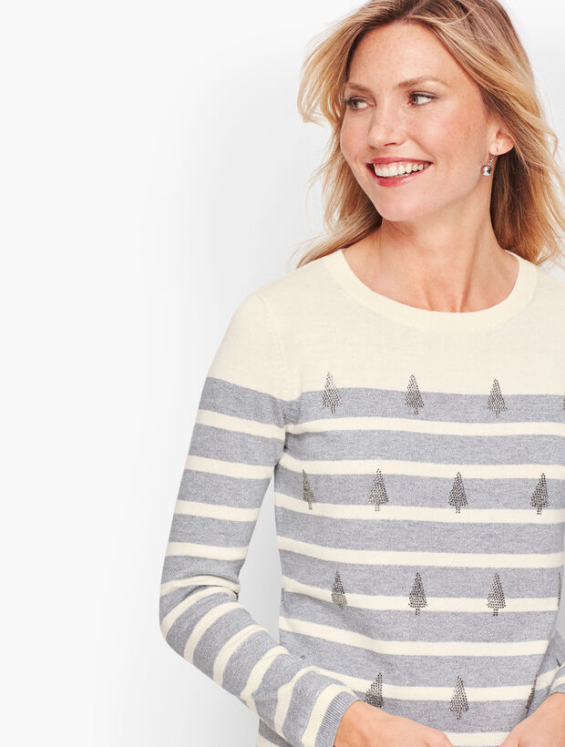 Sparkle Tree Stripe Sweater