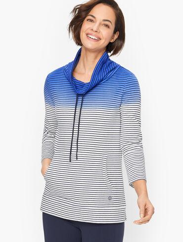 Dip Dye Stripe Funnel Neck Pullover