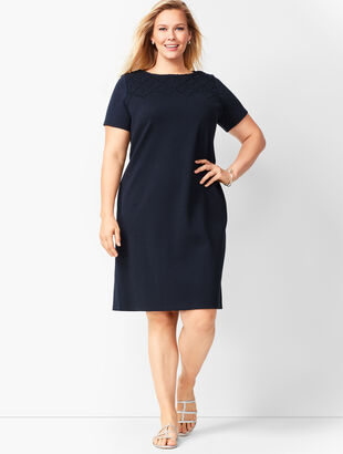 Embroidered Yoke Shift Dress