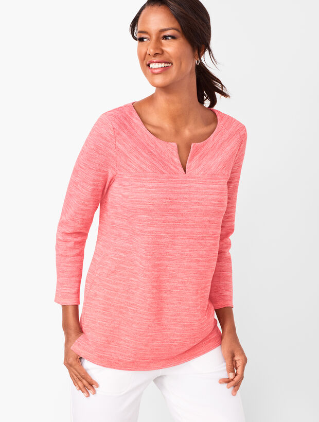 Textured Split-Neck Top - Space-Dyed