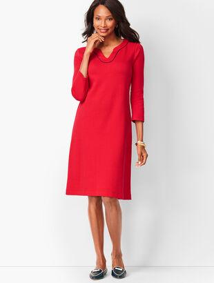 Trimmed Cotton Knit Shift Dress