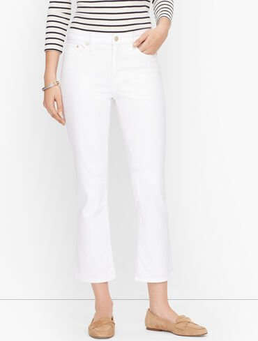 Crop Flare Jeans - White