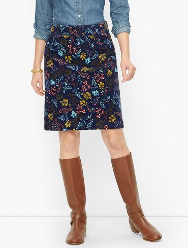 Cotton Corduroy A-Line Skirt - Pretty Floral