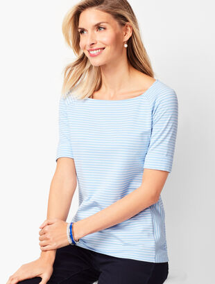 Square-Neck Stripe Tee