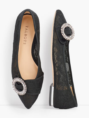 Poppy Pointed Toe Flats - Lace