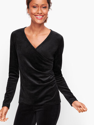 Lightweight Velour Wrap Top
