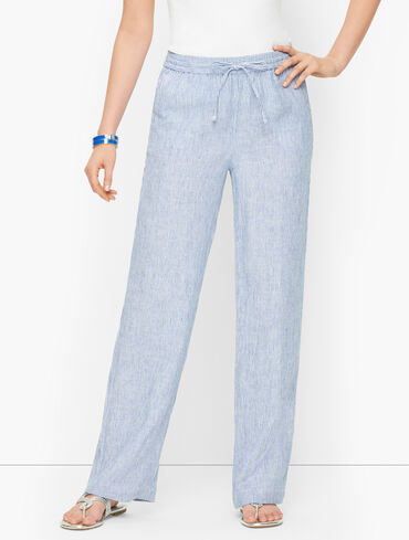Linen Wide Leg Pants - Stripe