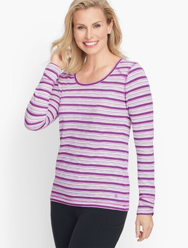Ruched Long Sleeve Stripe Tee