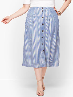 Stripe Button Front Pleated Skirt