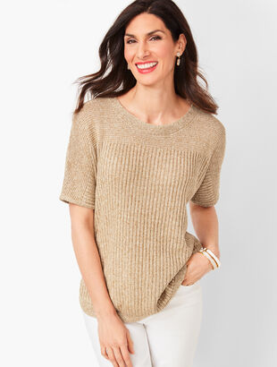Marled Chunky-Knit Linen Sweater